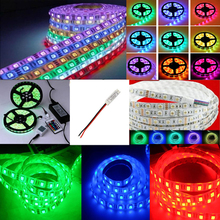 12v 1/5/10/15/20M 5050 SMD RGB 300 led waterproof flexible strip light fita tape Decor lamp bulb/remote control/power adapter