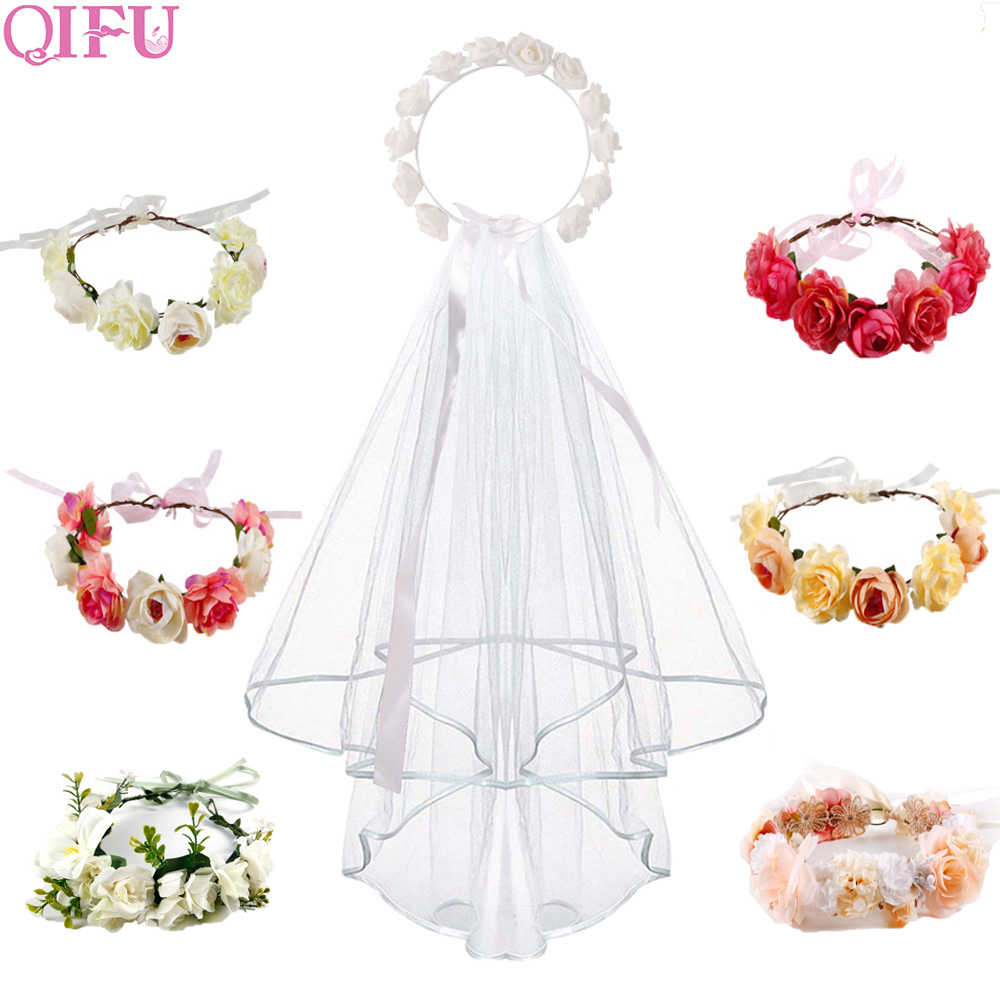 QIFU Rose Flower Crown and Bridal veil Rustic Wedding Decor Team Bride To Be Hen Night Bachelorette Party Decor Bridal Shower