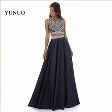 New Two Pieces Evening Dress Real PhotoS Vestido De Festa A Line Beading Scoop Sleeveless Long Evening Dresses Robes De Soiree