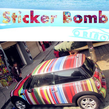 High quality Rainbow Stripes StickerBomb Vinyl Wrap With Air Bubble Free For Car Wrapping Decals Sticker Bombing
