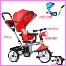 Buy Foldable Rotary Chair Children Tricycle Trolley Baby Bicycle Stroller Baby Carriage 3 Wheels Bike Jogging Stroller Bicycle for $209.48 in AliExpress store