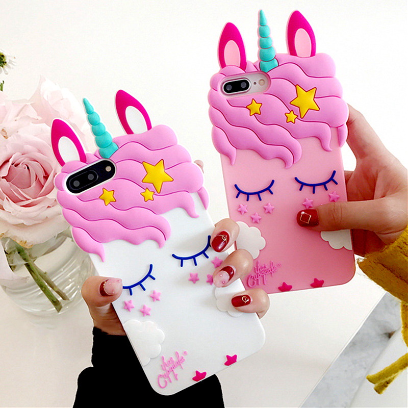 3D Cartoon Soft Silicone Phone Case For iPhone 5 S SE 6 6S 7 8 Plus X XR XS Max Case for iphone 7 Pink Unicorn Animal Back Cover (8)