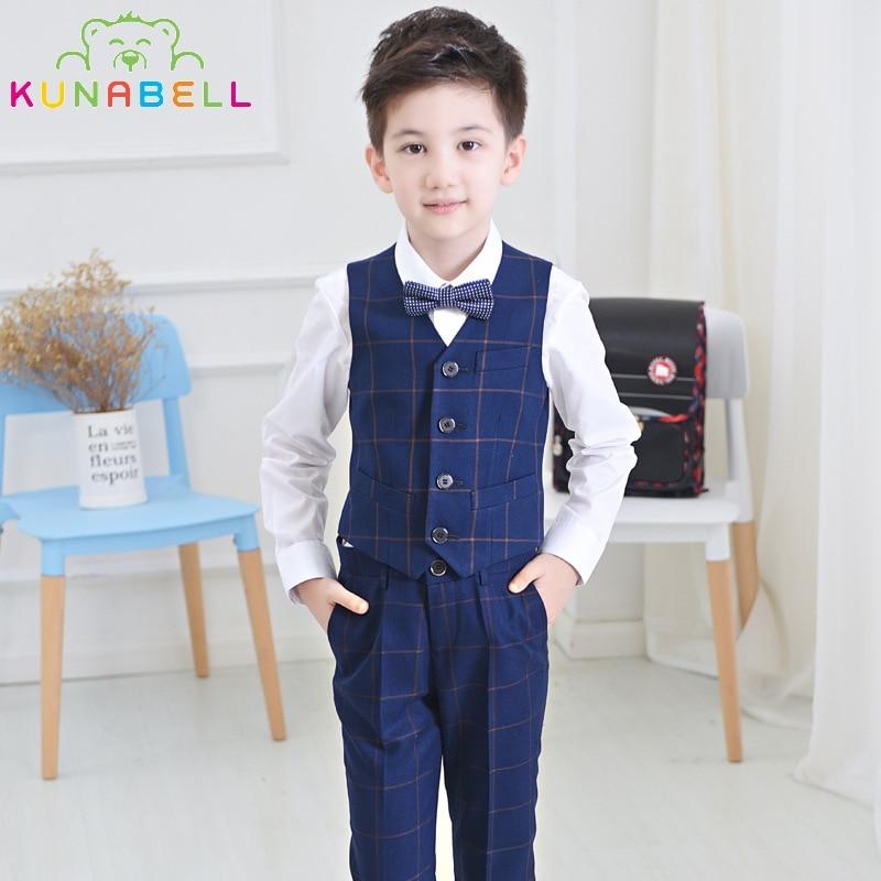 2017 Brand Flower Boys Vest Pant Shirt Blazer Waistcoat Set Kids Tuxedo Suit Baby Wedding Birthday Formal Dress Clothing Set F34<br>
