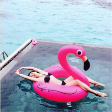 Manufacturers wholesale 120 cm inflatable flamingos swimming laps Water supplies mounts Toy swan A life buoy swim ring large