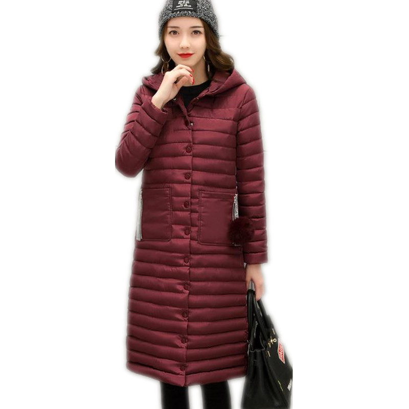2017 Fashion Print Letter Winter Women Long Down Cotton Jacket Parka Female Hooded Thin &amp;Light Cotton Outerwear Slim Parka CQ370Îäåæäà è àêñåññóàðû<br><br>