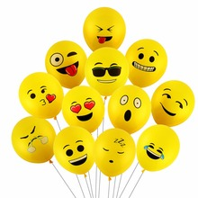 CCINEE 100PCs 12inch Emoji Balloons Smiley Face Expression Yellow Latex Balloons Party Wedding Balloons Cartoon Inflatable Balls