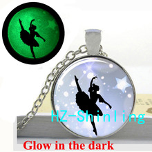Glowing Ballerina Necklace Ballet Dancer Pendant Glass Dome Jewelry Glow in The Dark Pendant Ballet Necklace(China)