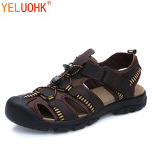 38-47 Soft Leather Men Sandals Plus Size Summer Sandals Men Style Brown Green(China)