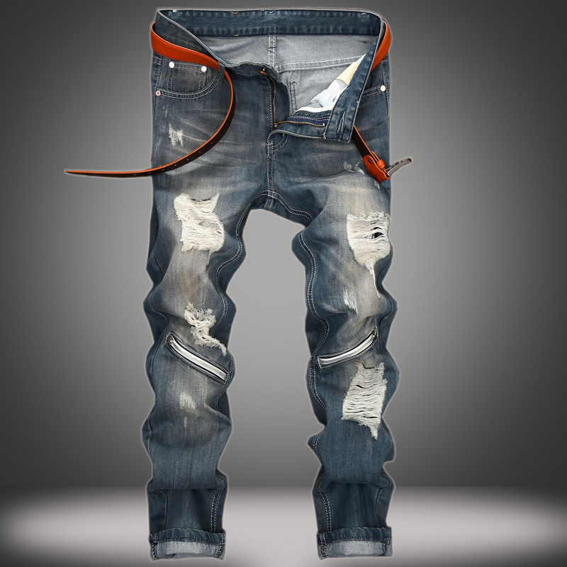 The new European man hole knee straight jeans zipper slim pants mens Club tide of cross-border tradeОдежда и ак�е��уары<br><br><br>Aliexpress