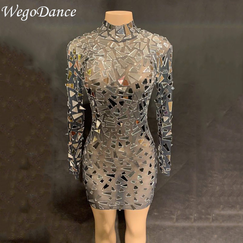 Women Sexy Mesh Mirrors Dress Sexy Sequins Big Stretch Costume Stage Dance Wear See Through Evening Birthday Celebrate Dress