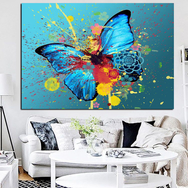 Graffiti Butterflies Fluttering Creative Abstract Canvas Painting on Canvas Poster Wall Pop Art for Living Room Cuadros Decor