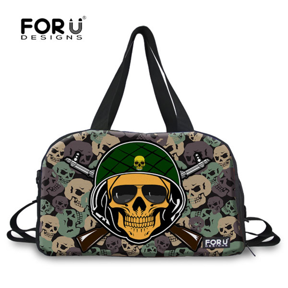 FORUDESIGNS Camouflage Skull Punk Sport Travel Tote Bags Outdoor Gym Bags for Men and Women Waterproof  Handbag Duffel Bags <br>