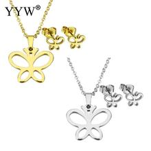 YYW Lover Girl Gifts Gold-color Stainless Steel Jewelry Sets Butterfly Animal Charm Stud Earring Pendant Choker Chain Necklace