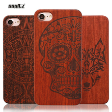 Soultz Case for iPhone 5 5s SE 6 6s 6S Plus Natural Retro Real Wood + PC Vintage Wooden Cases for iPhone 7 7plus Hard Back Cover(China)