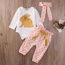 Cute Baby Girls Clothing Sets Tops Playsuit Pants Headband Outfit Set 3Pcs Newborn Infant Baby Girls Clothes Set(China)
