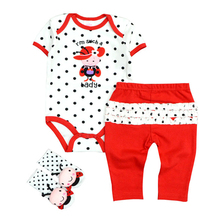 2018 3Pcs/Lot Newborn Baby Boys Girls Clothes Set Short Sleeve Romper+Leggings Pants+1Pair Socks Baby Clothing Set(China)