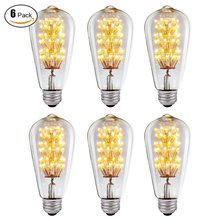 6-Pack, SUNMEG 3w ST64 LED Bulb Dimmable, E26 Medium Base - Warm Soft Glow (2400K) - 120V - Antique Edison Style Vintage Light B(China)