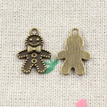 35pcs Antique Style Bronze Color gingerbread man cookies christmas Pendants Findings Charms 18*12mm