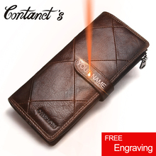 2017 Genuine Leather Wallets Clutch Men Patchwork Purse And Cellphone Wallet Long Luxury Brand Coin Bag Card Holder Retro Style