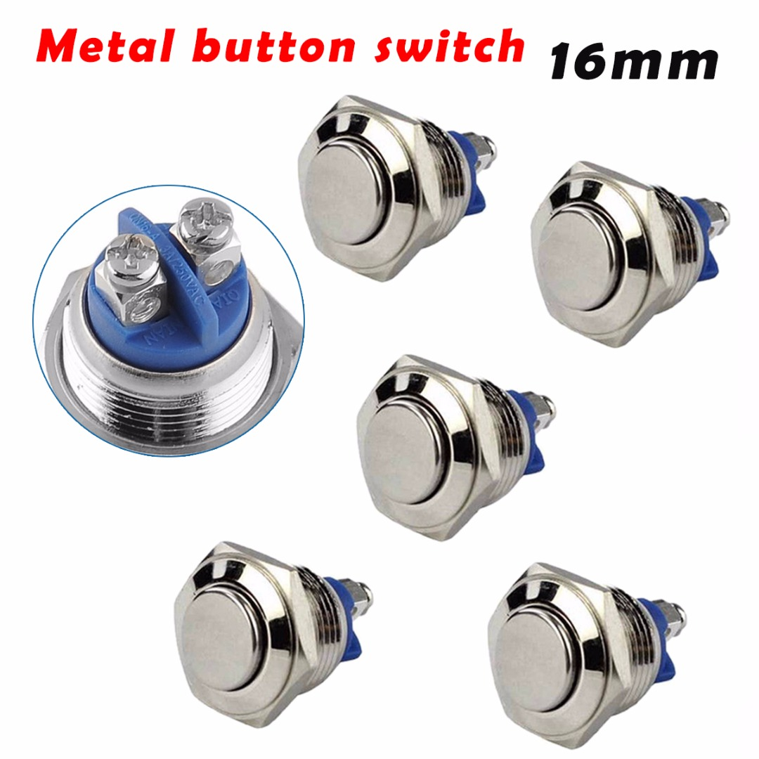 5pcs Waterproof Momentary Push Buon Switch 16mm 3A/250V Stainless Steel Metal Car Motorcycle Horn Auto Reset
