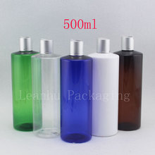 500ml x 12 transparent round empty plastic body shampoo bottle with metal disc top cap ,17 oz PET refillable liquid soap bottles