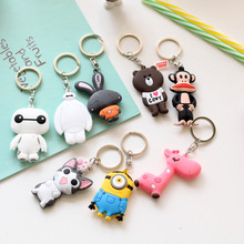 1PCS 3D Cartoon Anime Action Figures Toys PVC Keychain Minions Baymax Zootopia Giraffe Hello Kitty Bear Key Chain Pendant Gifts