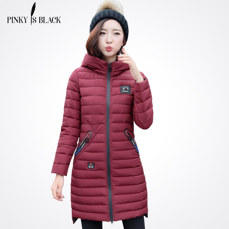High Quality Woman Parka Winter Jacket Coat with Hood Women Warm Coats Hot Sale Music Pinky Is Black 2017 New Winter CollectionÎäåæäà è àêñåññóàðû<br><br>