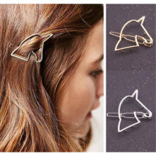 Women Hollow Out Unicorn Geometry Hairpin Gold/Silver Barrettes Hair Clip Headwear Hair Accessory