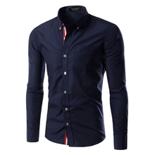 HOT SALE Solid Color Chemise Homme Men Shirt mens dress shirts Casual Camisa Masculina Long Sleeve Shirts Fashion Slim Fit
