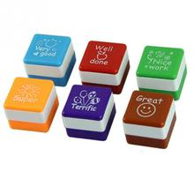 Vintage Style Marking Stamp 6pcs 2.8*2.8CM Square Shaped Stamps Specified ABS Teachers Comments Cute Cartoon Stamp Set(China)