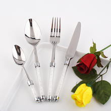 Dinner Set 4 pcs/lot Luxury Dinnerware Set Western Cutlery Stainless Steel Kitchen Set Cake Knife/Fork with Crystal Stem Food