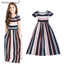 Yilaku Summer Girls Dresses Fashion Striped Baby Girls Costume Children Beach Vestido Kids Short Sleeve Long Dress CA472(China)