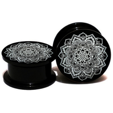 2pcs/lot Hot Sale Black Acrylic Indian Flower Logo Ear Plugs Flesh Tunnels Ear Gauge Stretcher Expander 6MM-25MM Piercing Body