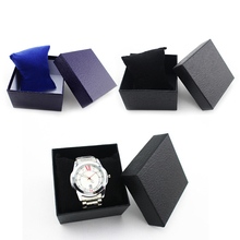 1pc PU Leather Watch Gift boxes Black/Blue Paper Watch packing Boxes with pillows inside without watch