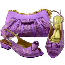 L Purple Color African Matching Shoes and Bags Italian In Women Italian Shoes with Matching Bags Set Decorated with Rhinestone(China)