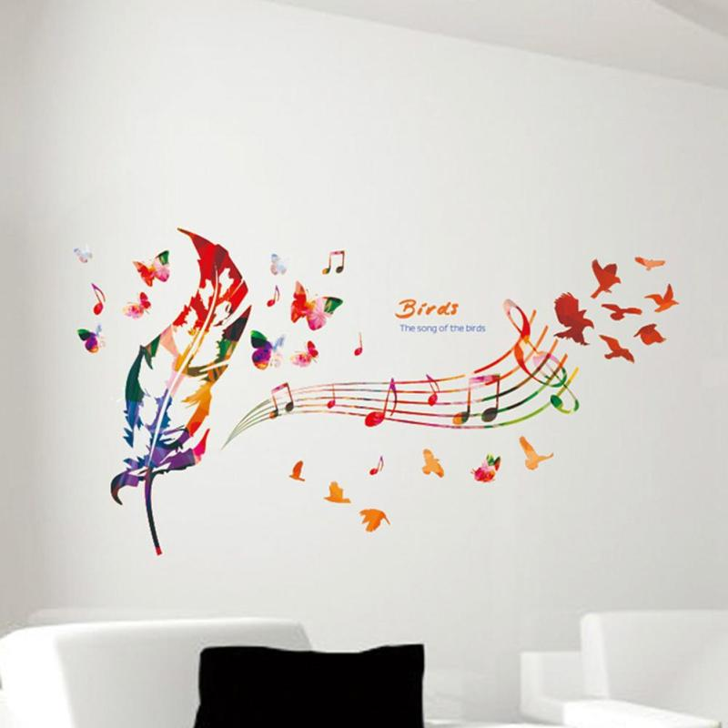 Colorful Feather Butterfly Wall Sticker DIY Removable Musical NOTE Vinyl Decals Wallpaper Sofa Background Sticker Home Decor(China (Mainland))