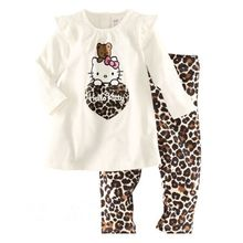 Hot sale new Hello Kitty girls suit (T-shirt + pants), Children's cartoon fashion suits, cotton girls wave point set(China)