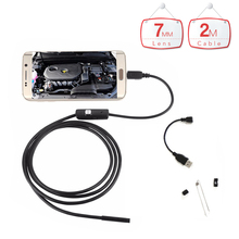 7mm Lens Waterproof USB Android Endoscope Camera 2M Cable Inspection Camera Snake Tube Micro OTG USB Borescope HD Car Endoscope
