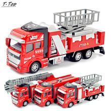 1:48 Red Sliding Diecast Alloy Metal Car Truck Water Fire Engine Model For Children Kids Funny Toy(China)
