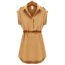 Women Ladies A-Line Cotton Casual OL Dress With Belt Plus Size Dress Women's Clothing(China)