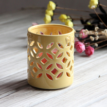 Ceramic Hollow Candle Holder Desktop Dinner Candlestick Red Yellow Candlestick Creative Spoon Fork Storage Tube Home Party Decor(China)