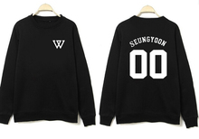Kpop winner o neck pullvoer black hoodies member name printed jinwoo minho sweatshirt  casual simple tracksuits