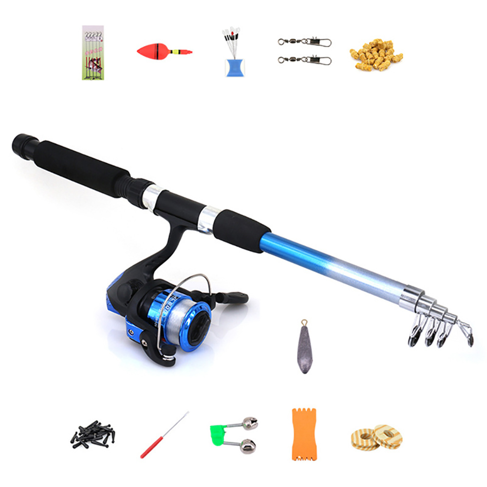 Reel-Line Full-Rod-Combo-Kits Fishing-Carp Spinning with Float Lures-Hook Swivel Etc-Tool-Set title=