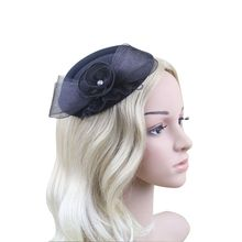 Women Bow Feather Net and Veil Hat Wedding Party Hair Clip Headdress Flower  Headwear Dress Accessories Black