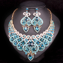 Fashion Bridal Jewelry Sets Wedding Engagement Necklace Earring for Bride Party Costume Accessories Indian Jewellery Sets Women(China)