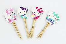24 pcs/lot Lovely Cat Hello Kitty Cup Cake Topper Pick Kitty Party Supplies Picks Birthday Wedding Party Decoration casamento