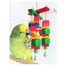 Wood Bird Toys Colorful bird toy for small and medium parrots or other Bird 315 parrots toys Bird cage parts(China)