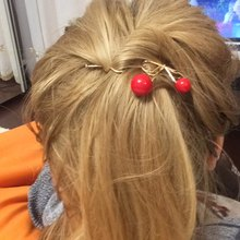 2017 Fashion Sweet Women Girls Summer Style Red Cherry Shaped Bow Hairpin Twist Hair Clip Headdress chemo Women Headwear(China)