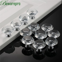 bowarepro Diamond Crystal Glass handles hardware kitchen cabinet accessories handle dresser furniture 40mm 12pcs+36Pcs Screws