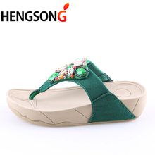 HENGSONG Newest Rhinestone Shell Beading Women's Beach Flip Flops Bohemian Slipper Platform Wedge Flip Flops Size 35-40 RD913803(China)
